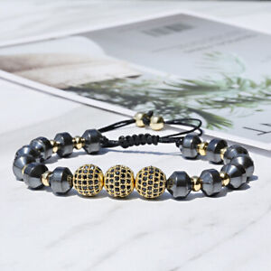 Men Women Luxurious Copper Bead Hematite Zircon Ball Handmade Bracelets Gift