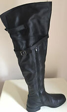 Unisa Beautiful Black Leather Over Knee High Boots Size 4