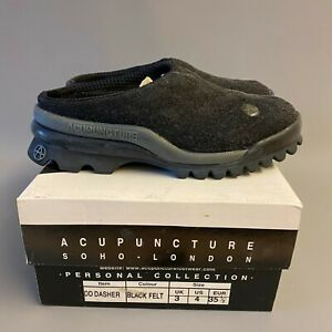 Acupuncture DD DASHER Black Felt Slip On Chunky Slipper Trainers Shoes 90s y2k