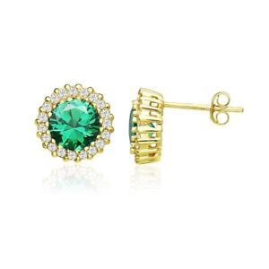 Round Halo Simulated Emerald & CZ Stud Earrings in Gold Plated Sterling Silver