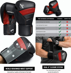 Hayabusa T3 Boxing Gloves for Men and Women 16oz, Black/Red