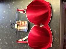 NEW EX M&S RED UNDERWIRED , LIGHTLY PADDED BRA WITH SILK SIZE 34E