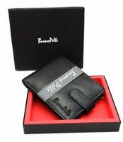 Genuine Leather Mens Wallet RFID Safe Blocking Bifold Purse Wallet + Gift Box