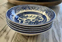 "Churchill Blue Willow England 6"" Fruit Bowls- Set Of 5 Individual Bowls"