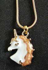 Gold Tone Orange and White Unicorn necklace 17 inch snake chain