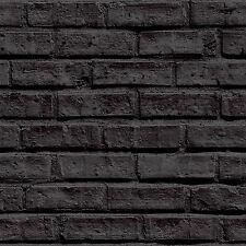 Negro Papel Pintado Ladrillo - Arthouse VIP 623007 - NUEVO Muro ELEMENTO