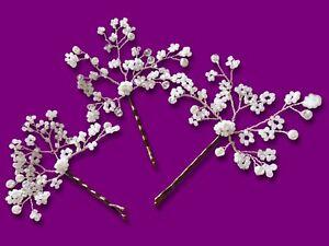 Gypsophila Spray Bridal Bobby Hair pins ivory Wire Babys Breath Prom Boho