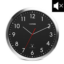 ONETIME MNU3300 Schwarze Aluminium Funkwanduhr mit LAUTLOSEM Uhrwerk Ø30,5cm