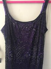 Planet Beaded Black/Purple Evening Gown Size 14