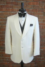 Mens 48 L After Six Classic Ivory Shawl Satin Lapel Tuxedo Dinner Jacket