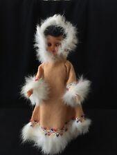 "Eskimo Girl Doll American Heritage Blue Bonnet Margarine Promotion 7 1/2"" tall"