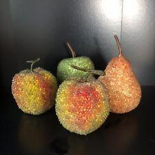 x 4 ARTIFICIAL FRUIT Decorative Beaded Fruit Pear Apples Home Decor Ornament Lot