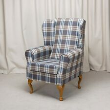 Wing Back Fireside Armchair in a Kintyre Chambray Blue Fabric