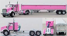 "NEW PINK & WHITE DCP 1/64 KENWORTH T800 W/ 36"" SLEEPER W/ MATCHING HOPPER"