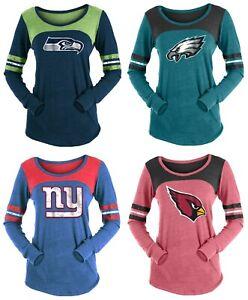 New Era Women's NFL Striped Long Sleeve Tri-Blend T-Shirt - Choose Team