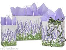 Bulk 125 Recycled Kraft Paper Gift Bags Soft Lavender Fields & 480 Tissue Sheets