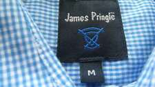 """James Pringle"" Med. Short Sleeved Shirt. Blue Checked. Cotton/Polyester. New."