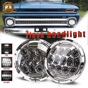 Pair 7inch 200W DOT LED Headlights DRL For Chevy C10 K10 Pickup Camaro G10 G20