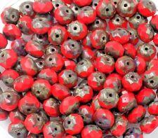 Beads Czech Glass Red Rondelle PK10 9mm *UK  EBAY SHOP*
