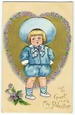 Raphael Tuck VALENTINE Dainty Dimples Postcard 1910 Little Boy in Blue