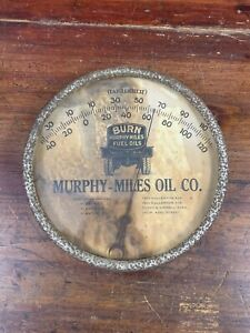 """Rare Vtg 30s MURPHY MILES FUEL OIL 7"""" Glass Thermometer Sign Pasadena Maryland"""