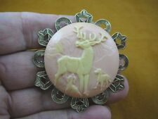 (CL56-13) Elk DEER Buck hunting dogs round pink ivory CAMEO Pin Pendant Jewelry
