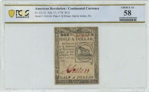 Feb 17 1776 $1/2 FR#CC-21 Continental Currency PCGS Banknote