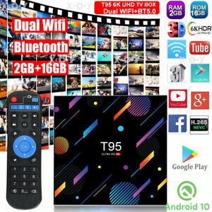 Android 10.0 OS T95 2+16G Smart TV BOX 5G WIFI BT5.0 6K UHD USB Allwinner H616