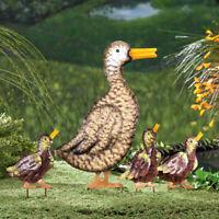 Set of 4 Duck Ducklings Metal Stake Garden Statue Yard Art Farm Lawn Ornament