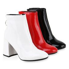 Damen Gefütterte Klassische Stiefeletten Blockabsatz Lack 831517 Schuhe
