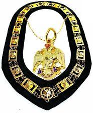Masonic COLLAR Regalia 32 Degree WINGS DOWN + PENDANT DMR-1400GBK+33P
