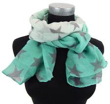 Pañuelo Mujer Estrellas Blanco Verde Gris de Ella Jonte bufanda viscosa Estrella