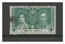 HONG KONG 1937 CORONATION ELIZABETH & GEORGE 4c GREEN SG137 VERY FINE USED