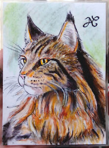 ORIGINAL ART Sketch Card Portrait Majestic Cat Cute Eyes Long Hair Pastels 1/1