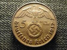 Germany Swastika 5 Reichsmark .900 Silver Coin 1937 J