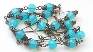 Czech Opaline Glass Bead Necklace/Earrings Set  Vintage Deco Style