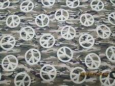 """NEW CAMO WITH PEACE SIGN """"  NEW GREEN CAMO DESIGN 100% COTTON 1/2  YARD"""