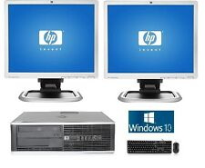 "hp Desktop PC Computer Dual Core 4GB RAM DUAL 19"" LCD Monitor Windows 10 WiFi"