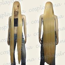 "60"" Heat Resistant Beige Blonde Extra Long Straight Cosplay Wigs w Bangs 81086"