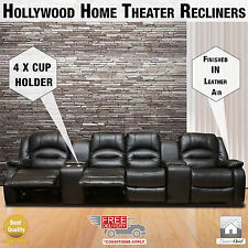 Hollywood Black Leather Air 4 Seater Home Theater Recliner with Storage Console