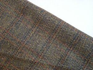 "2.86 yds English All WOOL Jacket Fabric 13.5 oz Herringbone Olive Navy 103"" BTP"