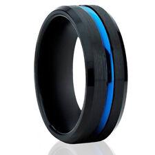 🔥 Mens Rings Blue Stripe Line Mens Wedding Bands Black Tungsten Rings for Men