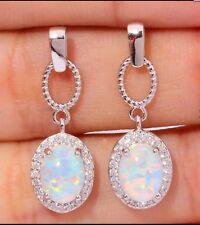 NEU fLüxus 925 Silber Ohrstecker-Ohrringe, weißer Feuer-Opal und Zirkonia