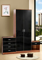 Walnut Black Gloss Bedroom Furniture 3 Piece Trio Set Wardrobe, Chest & Bedside