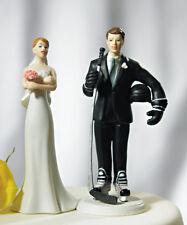 Hockey Groom Funny Couple Porcelain Wedding Cake Topper