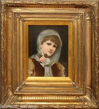 ALFRED SEIFERT 1850-1901 ORIGINAL OIL PAINTING ON PANEL PORTRAIT OF A BEAUTY