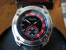 Deporte Gents Decade Black Leather Strap/Black-Red Dial