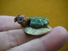 (Y-TUR-SE-119) SEA TURTLE little GREEN stone SERPENTINE carving love turtles