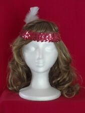 FLAPPER Headpiece RED Sequin Headband w/ White Feather 20's Costume Accessory