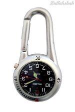 Plata Clipon Mosquetón Llavero Reloj Cara Negra para los médicos, enfermeras paramédicos Chefs